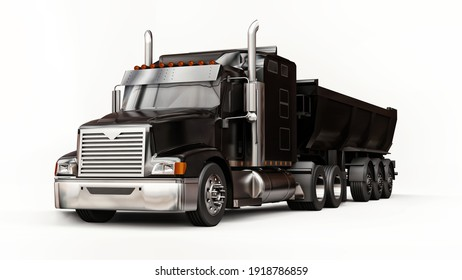 Large black American truck with a trailer type dump truck for transporting bulk cargo on a white background. 3d illustration