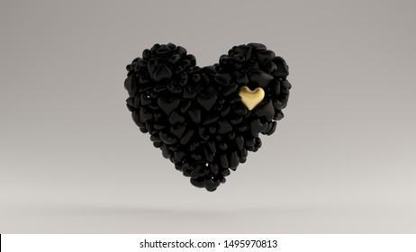 Large Black with Small Gold Heart 3d Heart Icon Made out of lots of Smaller Hearts  3d illustration 3d render