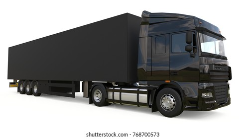 Large black truck with a semitrailer. Template for placing graphics. 3d rendering.