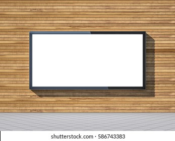 Large blank billboard lightbox on wall of shopping mall, 3d rendering