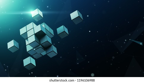 Large block dismantles in to small cube with abstract background - 3D Rendering