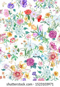 A large bloom of different categories of watercolor hand-painted flowers red green yellow pink purple