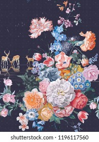 A large bouquet of colorful flowers with carnations, white camellia flowers, the mood with the moose water ripple