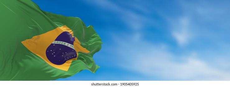 Large Brazil flag waving in the wind. 3D illustration