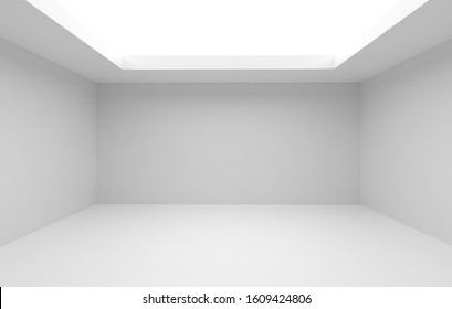 Large bright empty room without a ceiling. Place for presentation or exhibition. 3d render and room decoration