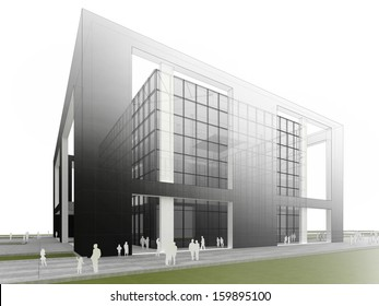 Large building with office, gallery museum facilities. Architecture computer generated illustration in semi transparent style of construction lines