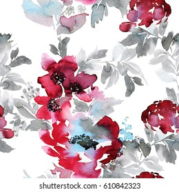 Large burgundy-red watercolor abstract flowers. Gray foliage. White background.