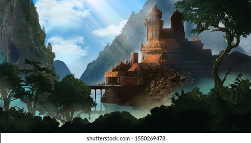A large castle is set in a valley surrounded by rivers at dawn.