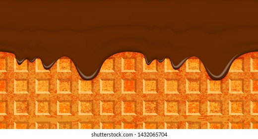 Large cellular wafer texture with chocolate coating. Brown glaze flows down on waffle background. Horizontal seamless element with smudges. Template for frosting cone of ice cream. Rasterized version