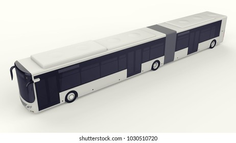 A large city bus with an additional elongated part for large passenger capacity during rush hour or transportation of people in densely populated areas. Model template for placing your images and