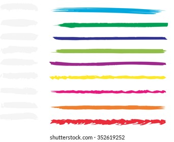 Large collection or set of artistic colorful multicolored paint hand creative brush strokes isolated on white background, metaphor to art, grunge or grungy, sketch, education or abstract design