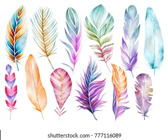 Large colorful set of bird feathers hand-drawn in watercolor. Objects of different shapes, sizes and colors. Isolated objects for your design.