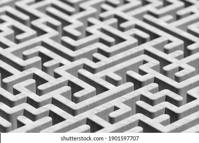 Large concrete maze or labyrinth over white background, success, strategy or solution concept, 3D illustration