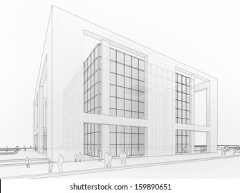 Large corporation, museum or gallery building, architecture graphic in transparent sketchy style