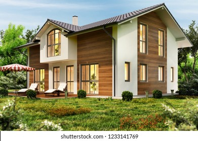 Large country house with terrace. 3D rendering