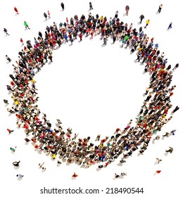 Large crowd of people moving toward the center forming a circle with room for text or copy space advertisement on a white background.