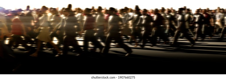 large crowd of people rushing to work concept at sunset 3d render