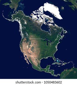 Large and detailed photo of North America (Canada, United States (US), Mexico ...) continent from space. Satellite image of North America. Elements of this image furnished by NASA.