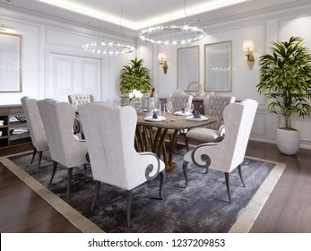 Large dining table for eight people in the dining room classic style, crystal chandeliers above the table. The design of the dining room. 3D rendering.