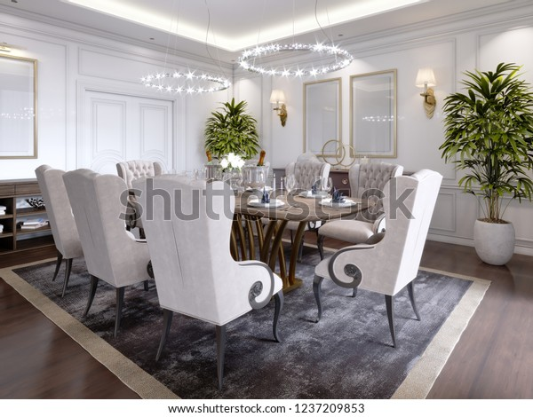 Large Dining Table Eight People Dining Stock Illustration