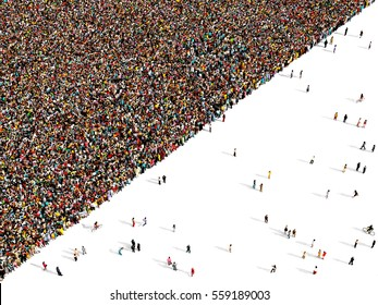 Large and diverse crowd of people seen from above gathered together to form a diagonal composition, 3d illustration