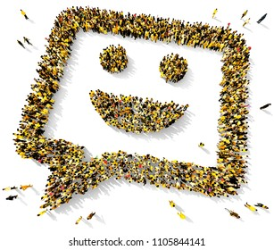Large and diverse group of people dressed in yellow clothes, seen from above, gathered together in shape of a smiley chat bubble, 3d illustration