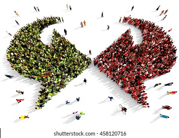 Large and diverse group of people dressed in green and red gathered together in the shape of two opposite arrows, 3d illustration