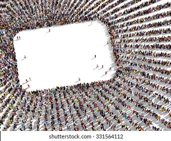 Large and diverse group of people gathered together in the shape of radial lines framing a round rectangle shape