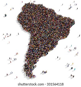 Large and diverse group of people gathered together in the shape of South America continent