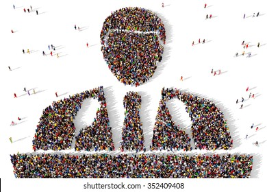 Large and diverse group of people gathered together in the shape of a politician holding a public speech