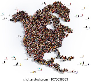 Large and diverse group of people seen from above gathered together in the shape of North America map, 3d illustration.