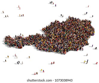 Large and diverse group of people seen from above gathered together in the shape of Austria map, 3d illustration.