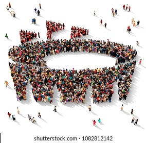 Large and diverse group of people seen from above gathered together in the shape of an arena symbol, 3d illustration