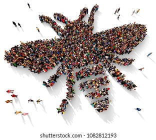 Large and diverse group of people seen from above gathered together in the shape of a bee or a fly, 3d illustration