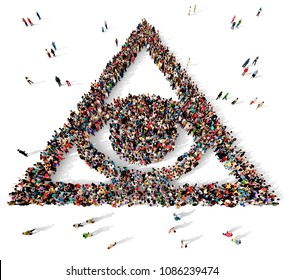 Large and diverse group of people seen from above gathered together in the shape of the all seeing eye, 3d illustration