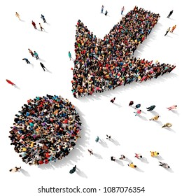 Large and diverse group of people seen from above gathered together in the shape of an arrow pointing towards a dot, 3d illustration