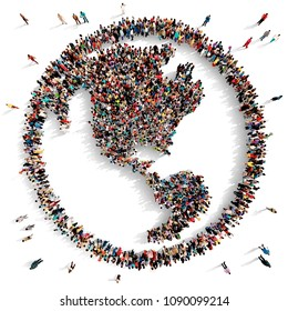 Large and diverse group of people seen from above gathered together in the shape of the world map facing America, 3d illustration
