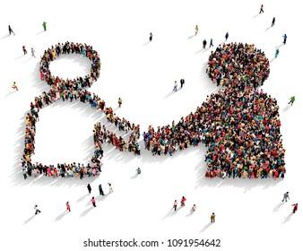 Große und vielfältige Gruppe von Menschen, die von oben gesehen wurden, versammelt in Form eines Symbols von zwei verschiedenen Menschen, die Hände zittern, 3D-Abbildung