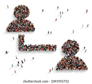 Large and diverse group of people seen from above gathered together in the shape of a symbol of two connected users, 3d illustration