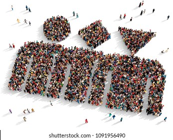 Large and diverse group of people seen from above gathered together in the shape of a three characters with different head shapes, 3d illustration