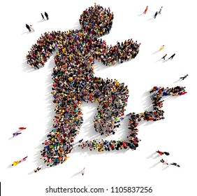 Large and diverse group of people seen from above gathered together in the shape of a character climbing a ladder, 3d illustration