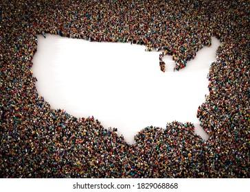 Eine große und vielfältige Gruppe von Menschen, die von oben gesehen wurden, versammelte sich um die Form der US-Karte, 3D-Abbildung