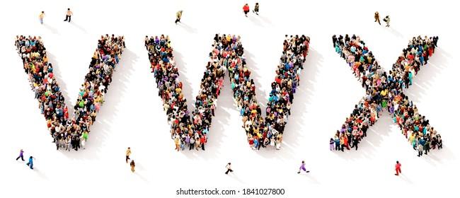 Eine große und vielfältige Gruppe von Menschen, die von oben gesehen wurden, versammelt in Form der VWX-Buchstaben, 3D-Abbildung