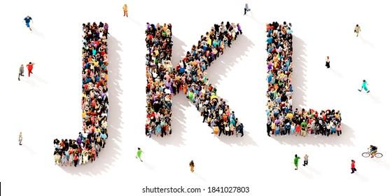 Eine große und vielfältige Gruppe von Menschen, die von oben gesehen wurden, versammelte sich in Form der JKL-Buchstaben, 3D-Abbildung