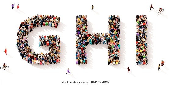 A large and diverse group of people seen from above gathered together in the shape of the GHI letters, 3d illustration