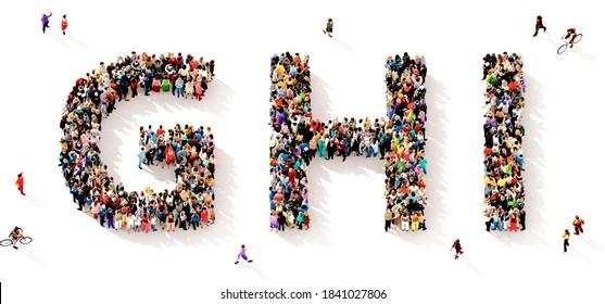 Eine große und vielfältige Gruppe von Menschen, die von oben gesehen wurden, versammelte sich in Form der GHI-Buchstaben, 3D-Abbildung