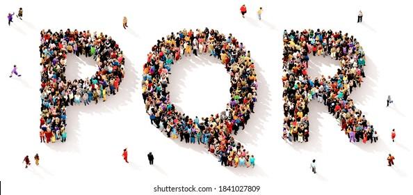 Eine große und vielfältige Gruppe von Menschen, die von oben gesehen wurden, versammelte sich in Form der PQR-Buchstaben, 3D-Abbildung