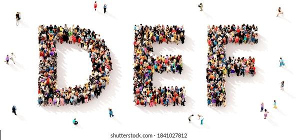 Eine große und vielfältige Gruppe von Menschen, die von oben gesehen wurden, versammelte sich in Form der DEF-Buchstaben, 3D-Abbildung