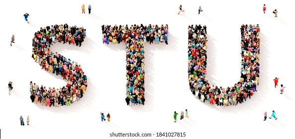 A large and diverse group of people seen from above gathered together in the shape of the STU letters, 3d illustration