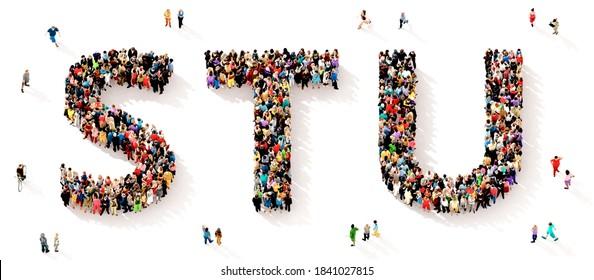 Eine große und vielfältige Gruppe von Menschen, die von oben gesehen wurden, versammelte sich in Form der STU-Buchstaben, 3D-Abbildung